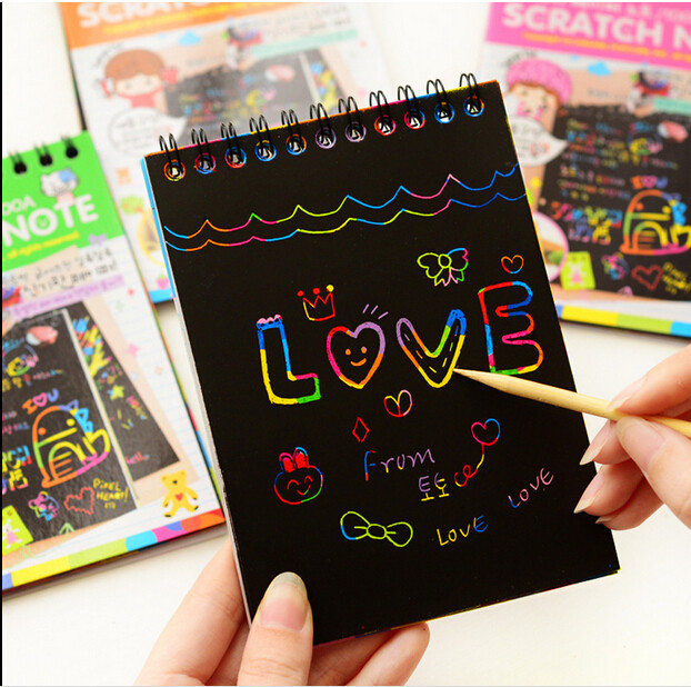 4Colors Scratch Note Black Cardboard Creative DIY Drawing Sketch Notes For Kids Graffiti Notebook Toy Escolar School Supplies
