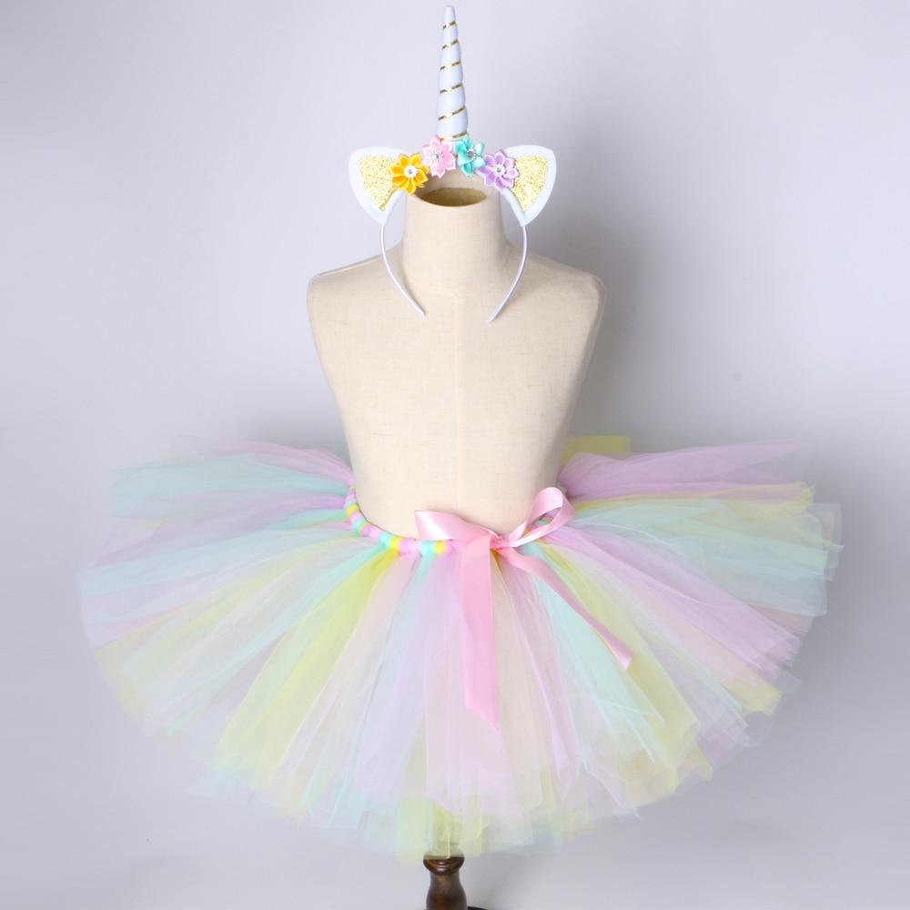 91c269ca7721f US $9.36 35% OFF|1 Set Pastel Rainbow Unicorn Tutu Skirt Baby Kids Dance  Tutu Birthday Party Tulle Skirt Girls Children Halloween Unicorn Costume-in  ...
