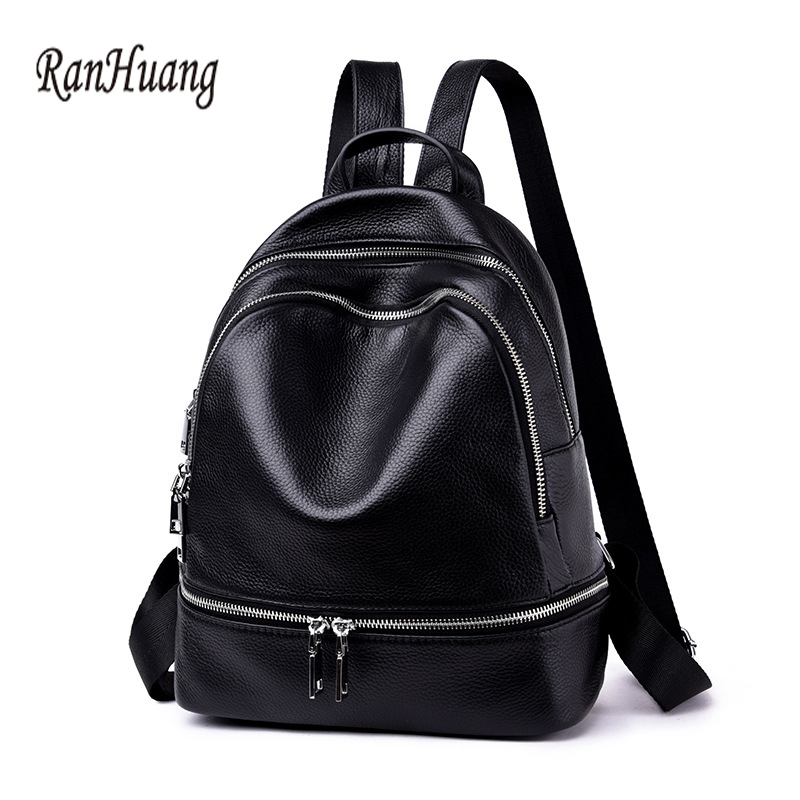 RanHuang Women Genuine Leather Backpack 2018 Fashion Backpack Teenage Girls Casual Rucksacks Travel Bags Black mochila feminina 2018 new korean kpop women pu backpack teenage girls fashion exo bags casual travel student bags mochila