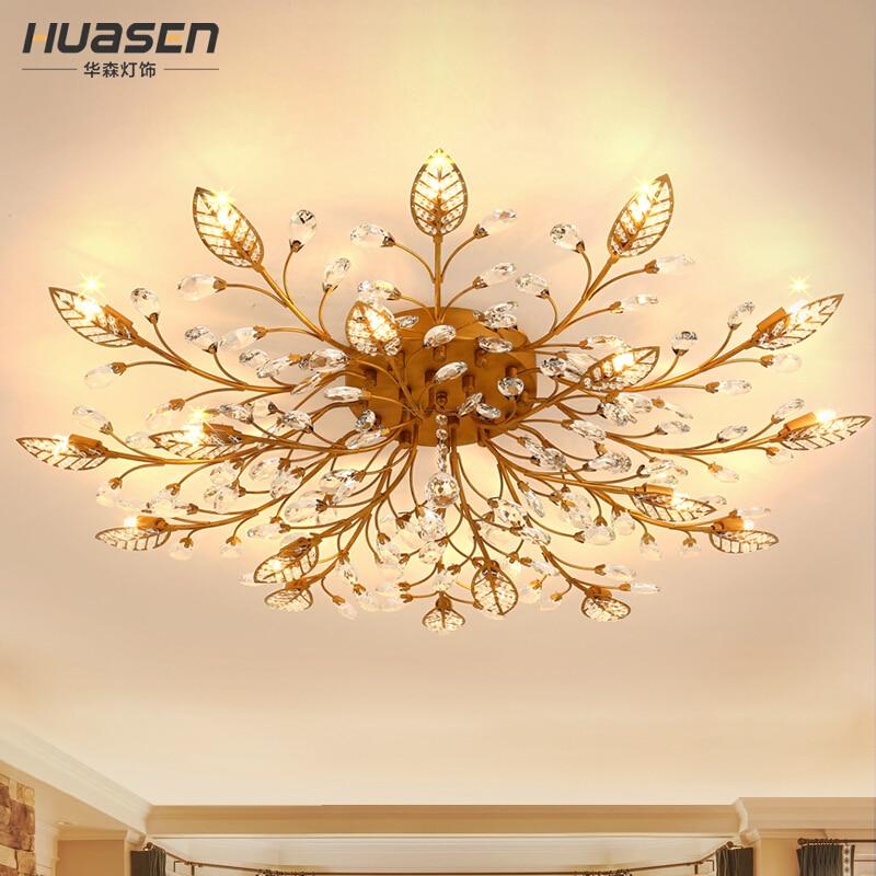Us 101 57 42 Off Modern K9 Crystal Led Flush Mount Ceiling Chandelier Lights Fixture Gold Black Home Lamps For Living Room Bedroom Kitchen In