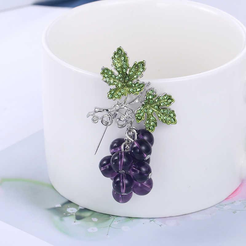 Weimanjingdian Baru Kedatangan Ungu Tua Graple dan Hijau Daun Bros Pin untuk Wanita atau Anak Perempuan Perhiasan Hadiah