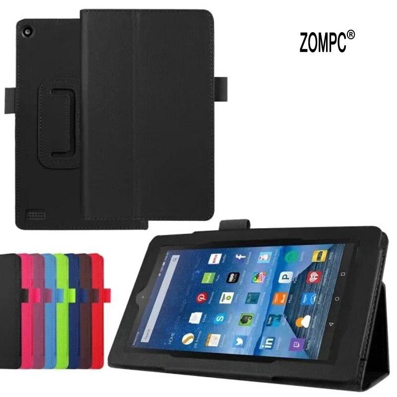 2-pliage De Luxe Folio Stand Étui En Cuir Magnétique Housse De Protection Pour Amazon Kindle Feu Nouveau 7 2017 SR043KL Fire7 7 Tablet