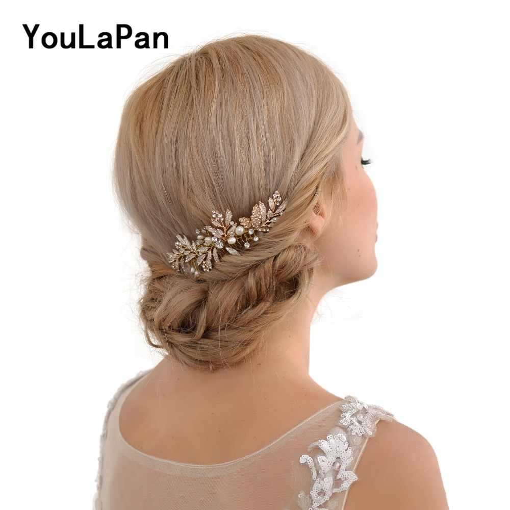 YouLaPan Alloy Leaf Wedding Tiara Handmade Rhinestone Bridal Hair Jewelry Bridal Combs Wedding Hair Accessories Headpieces HP14