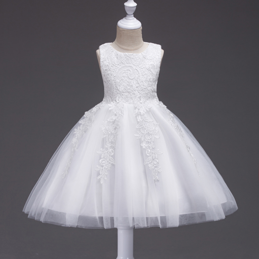 Tutu Dress Baby Girl Pink Lace Princess Flower Girl Dresses Children Evening Dresses Kids Party Wedding Vest Sleeveless Dress