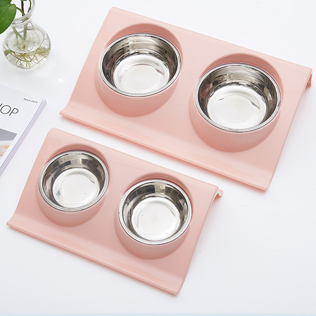 Thicken Pet Food Bowl Stainless Steel Double Pet Bowls Food Water Feeder for Dog Puppy Cats Pets Supplies Feeding Dishes 12