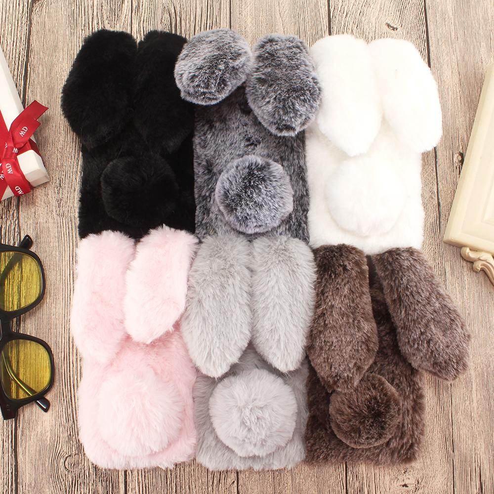 Rabbit Fur Cases For Huawei Honor 8X Max 8C 7A Pro 7C 7X 7S Honor 9 Lite Play 6 7 V10 View Note 10 6A 6X 5C 20 10i 20i 8A Covers