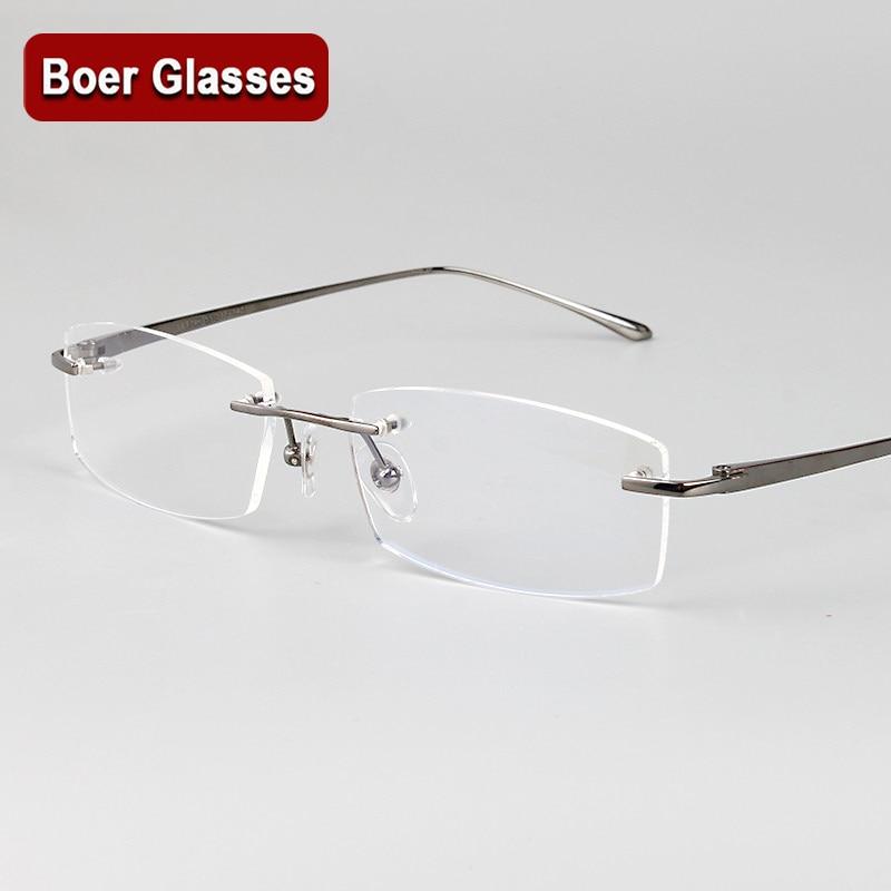 5b6b5fbce2f42 Os Recém-chegados de Negócios Óculos 100% Óculos de titânio puro Óculos sem  aro