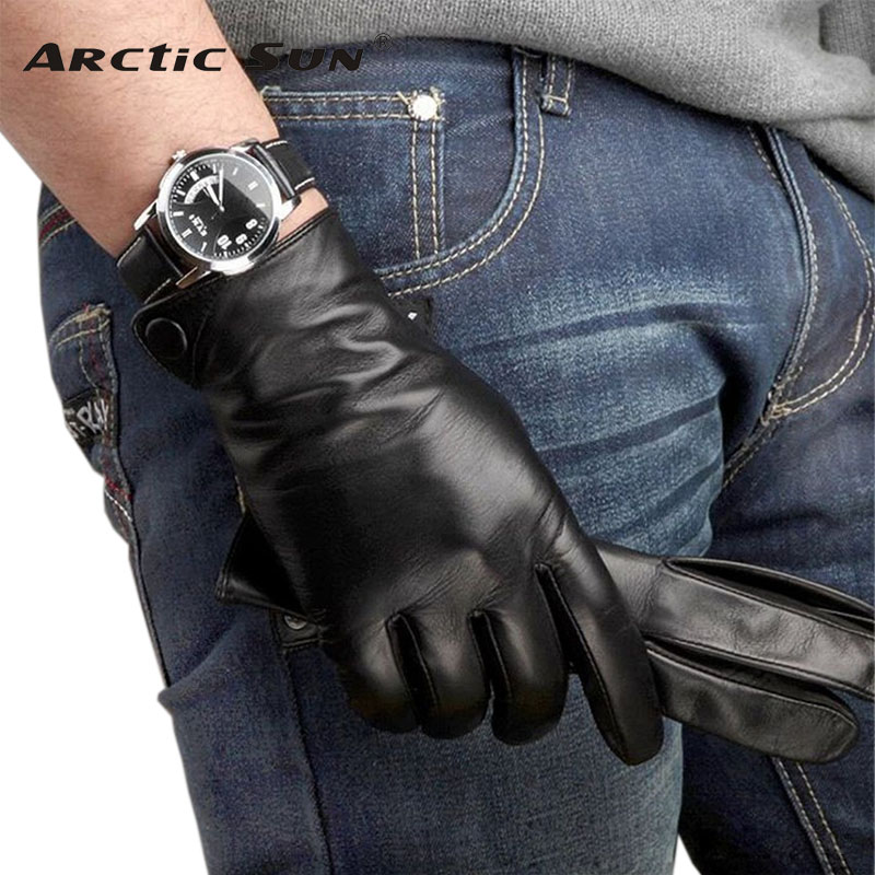 Fashion Men Real Sheepskin Gloves Wrist Solid Winter Lambskin Genuine Leather For Male Warm Driving Glove Free Shipping M001NC