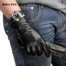 M001NC  WARMEN leather gloves men sheepskin gloves wrist winter lambskin genuine leather gloves for male warm driving gloves самокат tech team mini red