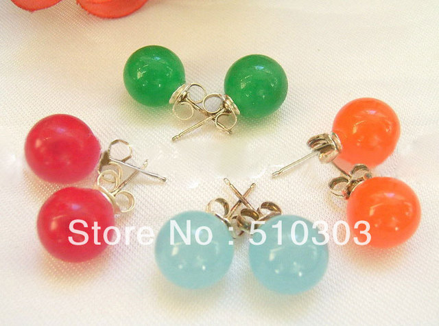 4 Pairs 10 mm Multi Color Jade Pearl  Earrings
