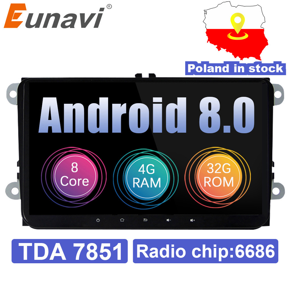 Eunavi 2 din 4 9 ''Android 8.0G RAM B6 Estéreo Rádio Do Carro GPS Navi para VW Passat CC polo GOLF 5 6 Touran Jetta Magotan Tiguan Assento