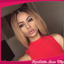 Top Quality Ombre Short Bob Wig Brazilian Synthetic Lace Front Wig Two Tone 1b#/27#  Fashion Straight Cheap Wigs For Black Women