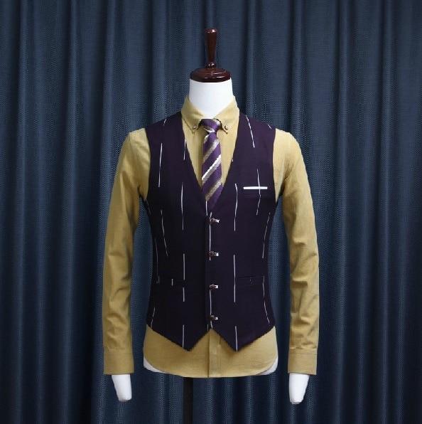 Высокое качество осенний мужской, Свадебный костюмные жилеты в полоску Тонкий Повседневный Блейзер, жилет и стиль - Цвет: PURPLE