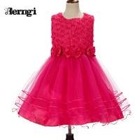 2015 Toddler Girl Clothing Girl Princess Christmas Dresses Pink Big Bowknot Sleeveless Beading Wedding Kids Dress
