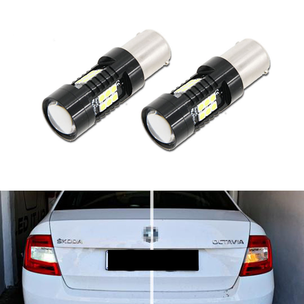 2pcs P21W 1156 BA15S LED Bulbs Car Lights 1200Lm Turn Signal Reverse Brake Light 3030 LEDs 12V For Skoda Octavia 3 5E (2014) image