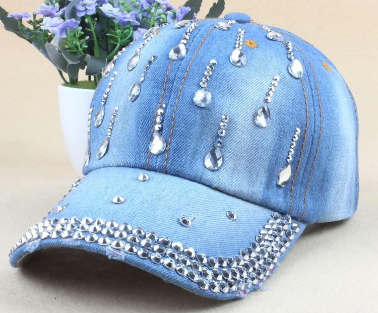 ... mujer tapa con agua gota rhinestone Vintage Jean algodón béisbol gorras  para hombres caliente venta. Tamaño  cap 56-59 cm se puede ajustar. Producto 601ff86366cd