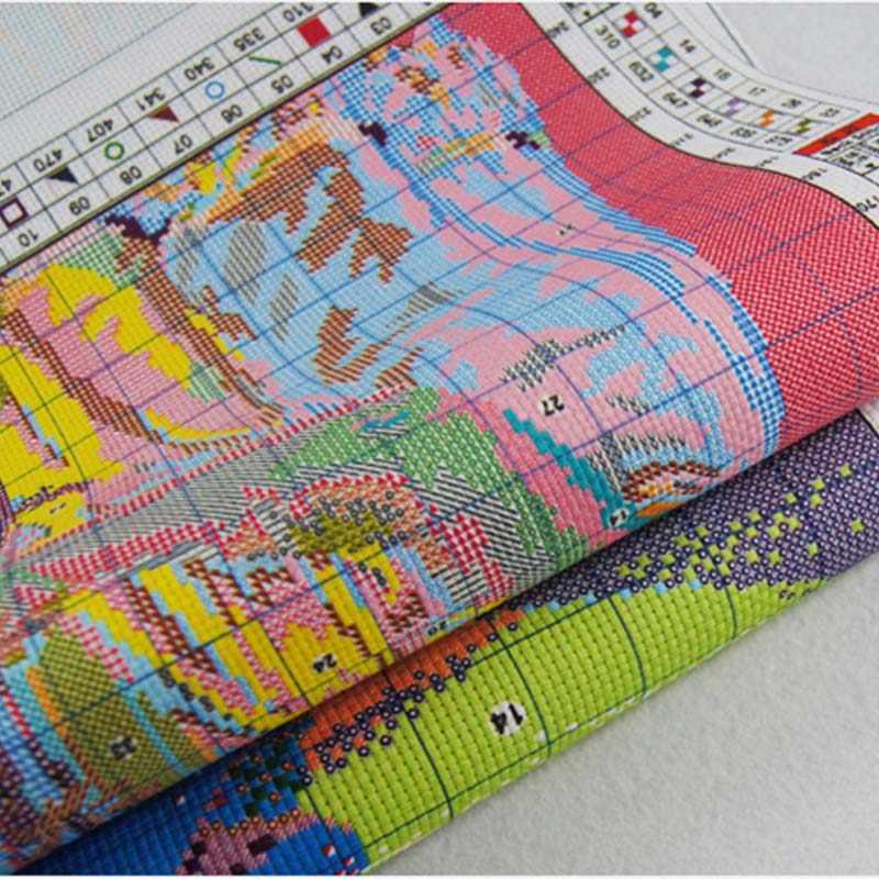Vreugde Zondag kruissteek borduurpakketten, DIY kruissteek, set borduurwerk pak, print Meisje en kat genoeg canvas voor borduurwerk