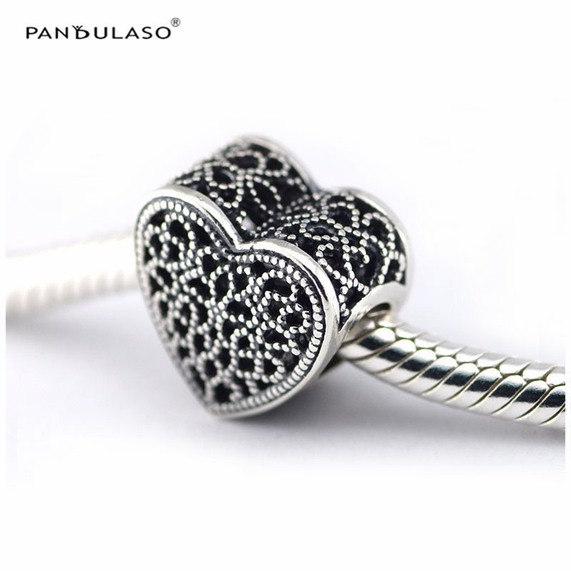 2425051e0 Pandulaso Fit Bracelets & Bangles Filled with Romance Charm Woman DIY  Original 925 Sterling silver beads