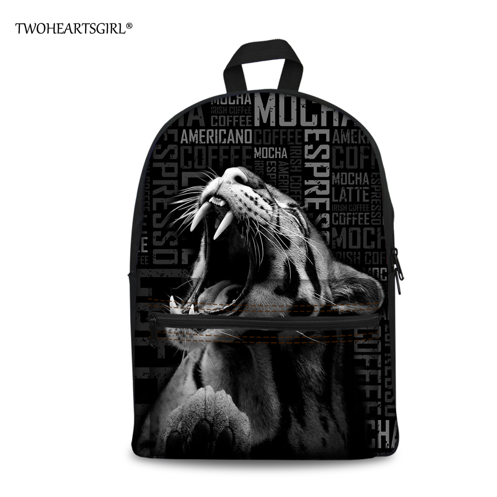 TWOHEARTSGIRL 2017 Fashion Student Kids Book Bags 3D Animal White Tiger School Bag for Little Boys Cool Casual Canvas Schoolbags