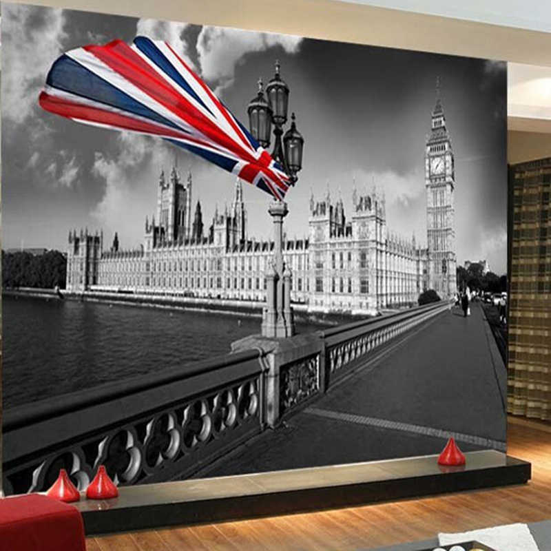 Vintage Wallpaper Black And White London City Building Photo Mural Living Room Cafe Kid's Room Personality Decor Wall Paper Roll
