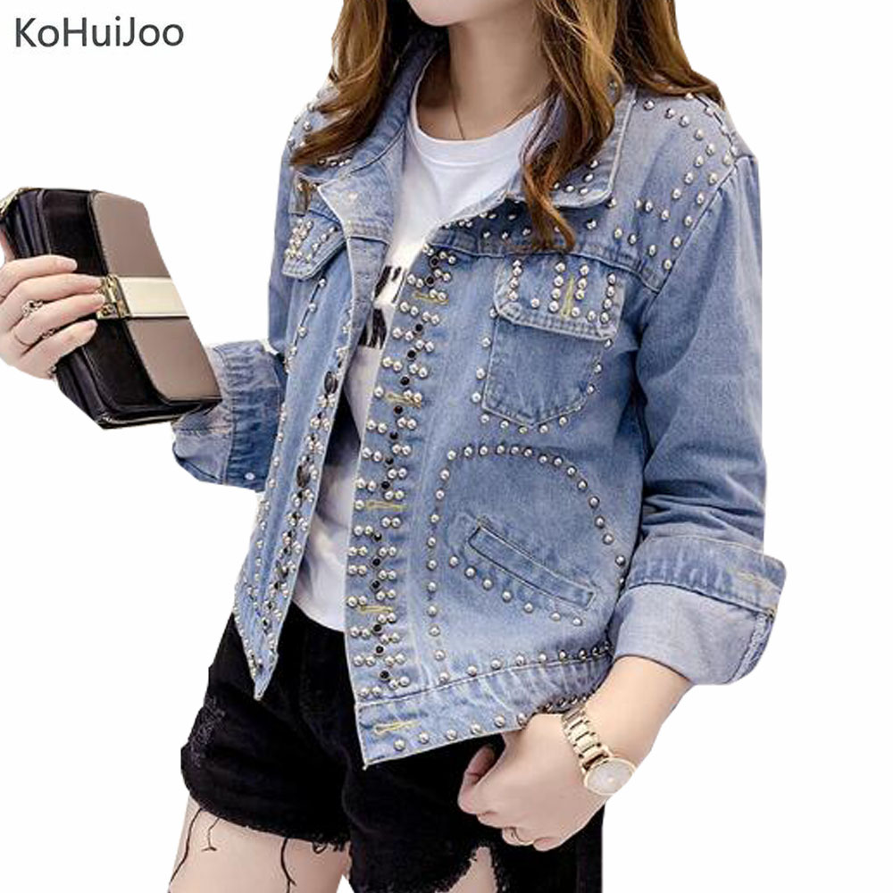 KoHuiJoo 2019 femmes manteau de base perles Rivet Denim vestes femmes mode Denim veste pour femmes Jeans veste mode Streetwear