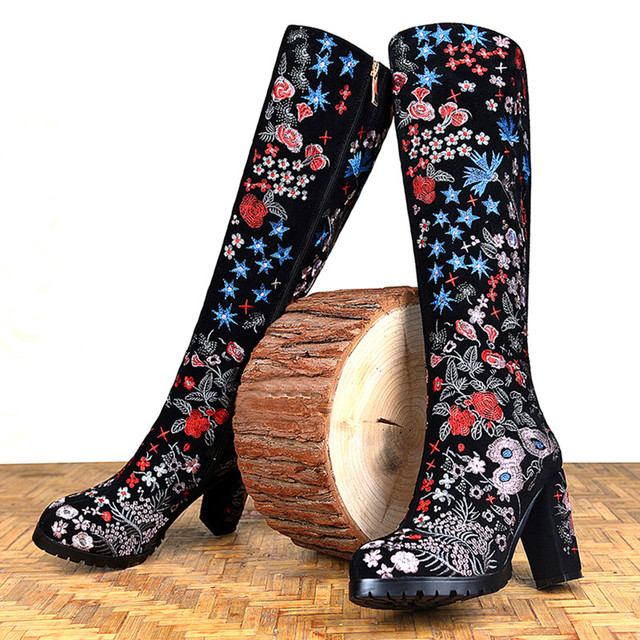 2017 Fashion Brand Winter Shoes Large Size Embroidery Flower Round Toe High Heel Women Knee-high Boots Lady Motorcycle Boots L