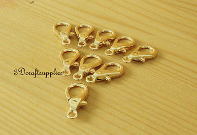 Lobster Clasps Clips Claw purse hooks Swivel snap hook light gold 14mm 15pcs P67