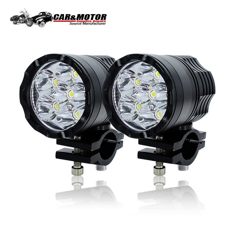 Barrel lamp 8000Lm/set Motorcycle LED Headlight Waterproof Driving Spot Head Lamp Fog Light Motor Accessories 6000K white 12V