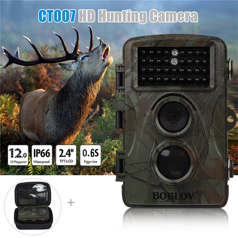 BOBLOV CT007 1080P HD 12MP 940nm Wildlife Hunting Scouting Trail Camera Game IR LED Night Vision PIR Motion Detect With Free Bag 3pcs lot dhl free quality wildlife hunting camera 12mp hd digital infrared scouting trail camera 940nm ir led night vision video