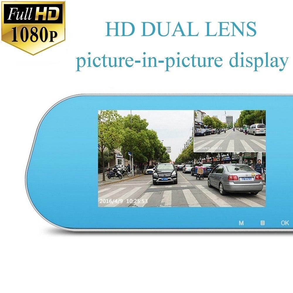 Auto Dual Lens Dash Cam Auto Camcorder FHD registrador 4,3 pulgadas Dash Cam coche Dvr azul revisión espejo grabadora de vídeo Digital - 4