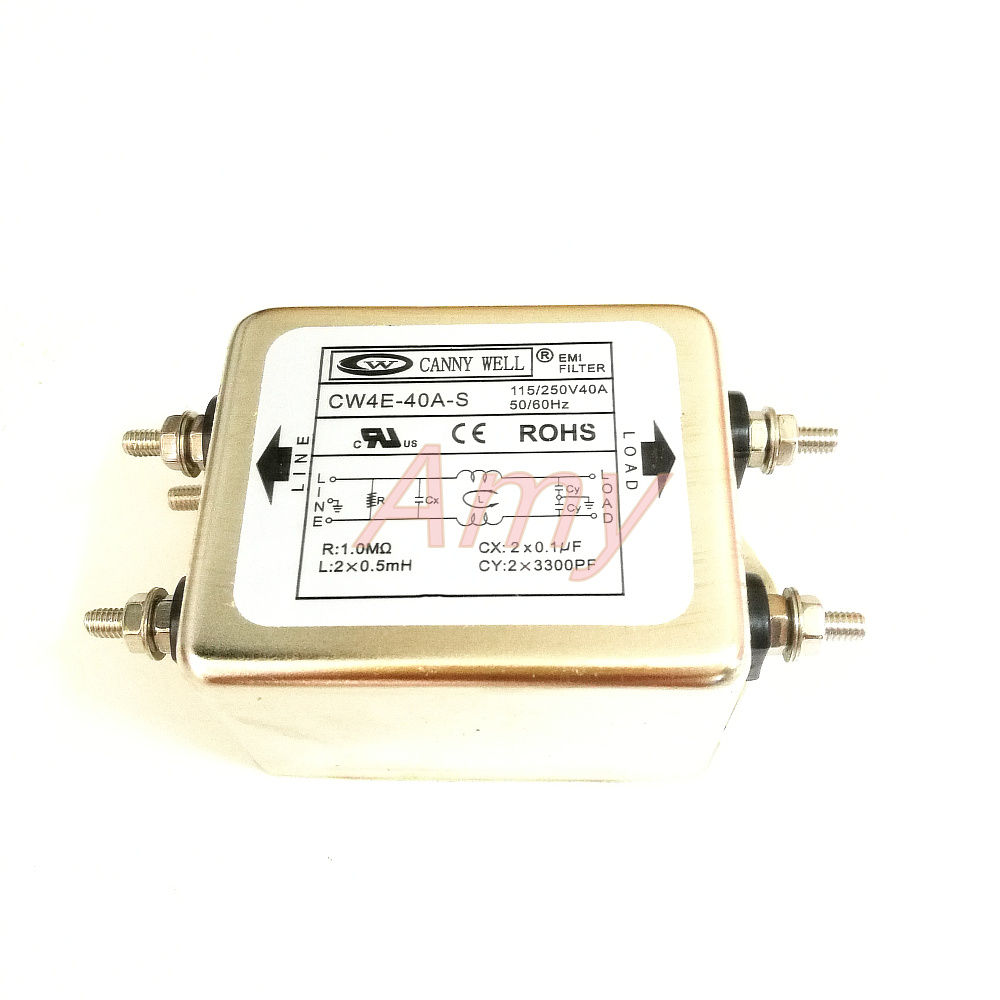 Power EMI filter CW4E 40A single-phase S AC 220V purification anti-jamming