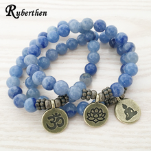 Ruberthen  2017 High Quality Handmade Bracelet Blue Aventurine Bracelet Antique Brass Om Buddha Lotus Charm Lucky Bracelet
