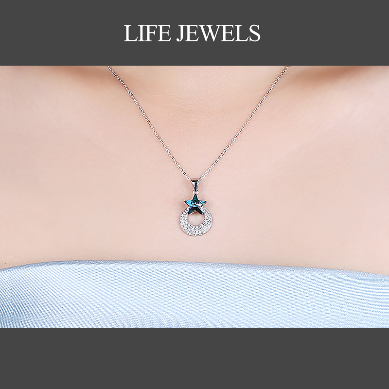 Authentic100 925 Sterling Silver Crystal Pendants Zircon Charm l Women Luxury Silver Valentine 39 s Day Gift Jewelry 18137 in Pendants from Jewelry amp Accessories