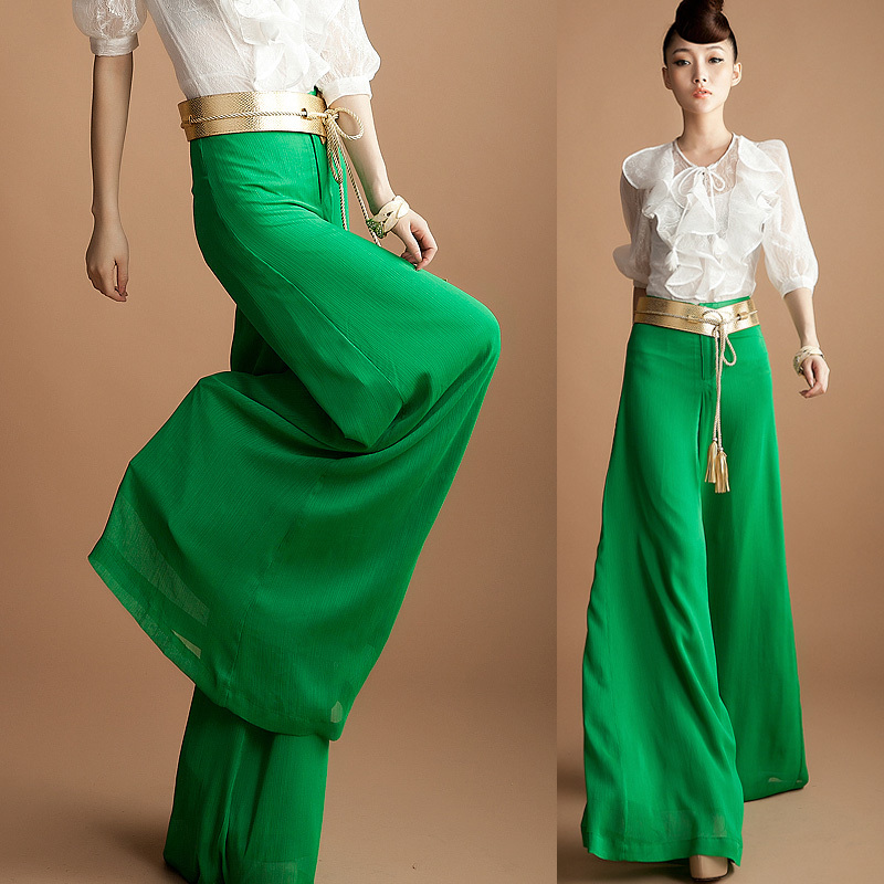 6deffcc66e5 4XL XXXL Plus Size spring summer fashion women s chiffon wide leg dress  pants green high waist trousers green culottes for women-in Pants   Capris  from ...