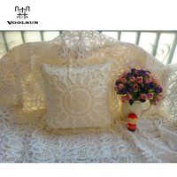 Decorative Pillows Pastoral Europe High Quality 100%Cotton Battenburg Lace Handmade Embroidered Ivory Cushion Cover/Pillow Case