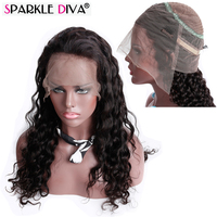 Sparkle Diva 360 Lace Frontal Wigs Loose Wave Brazilian Remy Human Hair Natural Color Pre Plucked With Baby Hair Cuticle Aligned