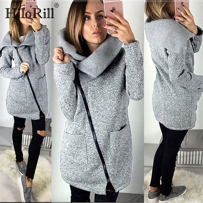 2019 Women Autumn Winter Warm Fleece Sweatshirt Hoodie Turn-down Collar Long Zipper Hoodies Pure Jacket Coat Outwear Plus Size