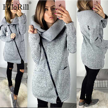 2019 Women Autumn Winter Warm Fleece Sweatshirt Hoodie Turn-down Collar Long Zipper Hoodies Pure Jacket Coat Outwear Plus Size - DISCOUNT ITEM  58% OFF All Category