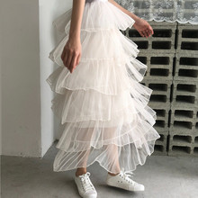 New 2019 Women Long Skirt Vintage Mesh High Waist Ball Gown Layered Skirts Pleated Tutu Skirt Ladies Elegant цена 2017