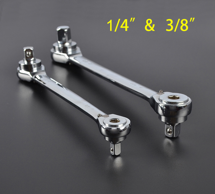 1/4+3/8 Ratchet wrench 2 IN 1 wrench 72 tooth chrome vanadium steel quick wrench Screwdriver wrench chrome vanadium steel ratchet combination spanner wrench 18mm