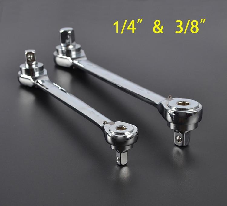 """1/4 """"+3/8"""" ráčnový klíč 2 v 1 klíč 72 zub chrome vanadiová ocel rychloupínací klíč šroubovák klíč"""