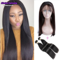 360 lace frontal with 2 bundles Indian virgin hair straight peerless capelli umani black Friday hot sale 360 Lace Front closure