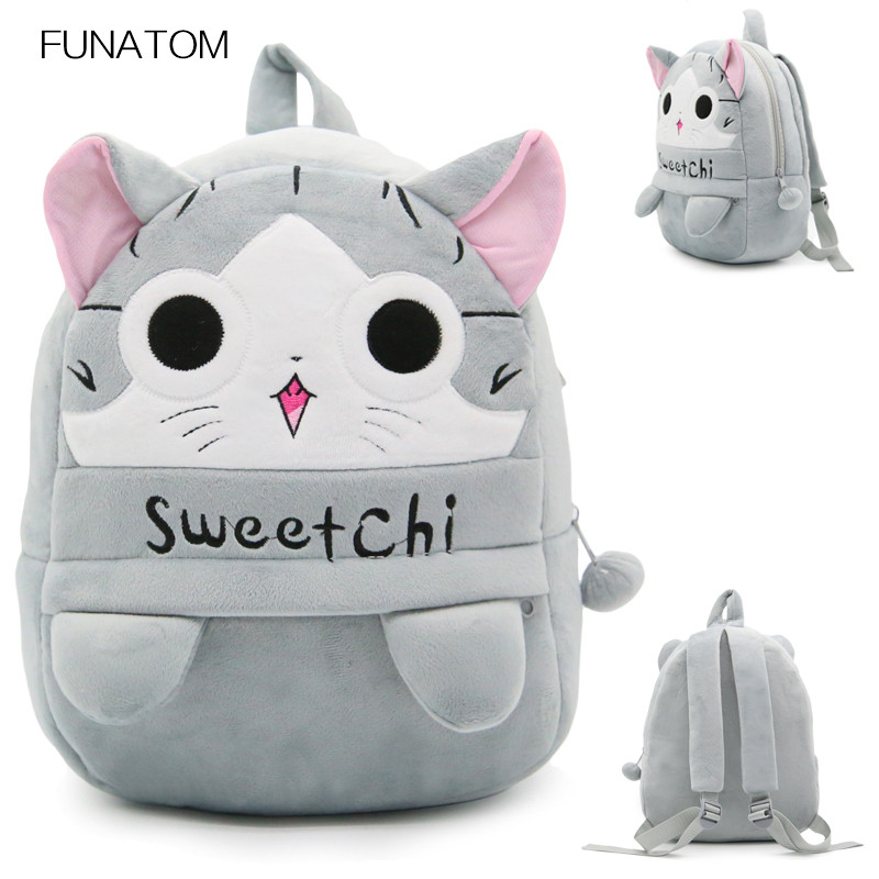Children Cartoon School Backpack Sweet Cat Design Soft Plush For Toddler Baby Grils Kindergarten Kids Snacks School Bag