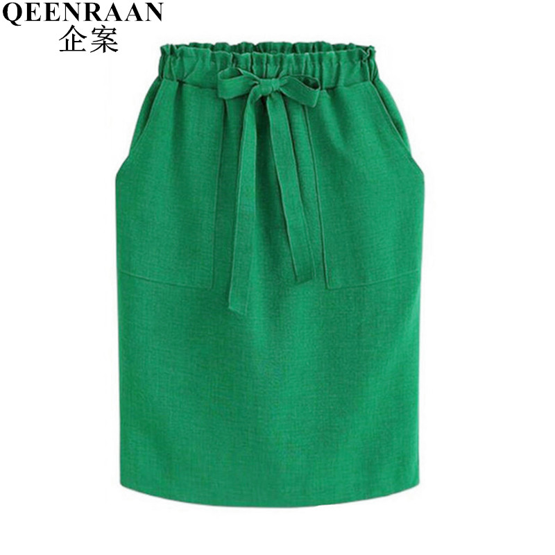 New Fashion Vintage Bow Lace-Up Midi Skirts Women Elegant Casual Skirt Female A line Elastic Waist Office Work Skirts For Womens