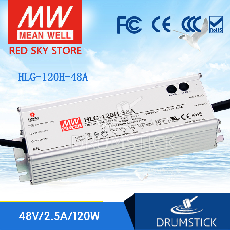все цены на Best-selling MEAN WELL HLG-120H-48A 48V 2.5A meanwell HLG-120H 48V 120W Single Output LED Driver Power Supply A type онлайн