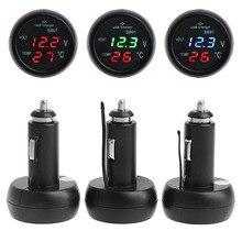 цена на MAYITR Car USB Charger Voltmeter Thermometer Universal 3 in 1 Car Voltage 12V/24V LED Digital Voltmeter Cigarette Lighter