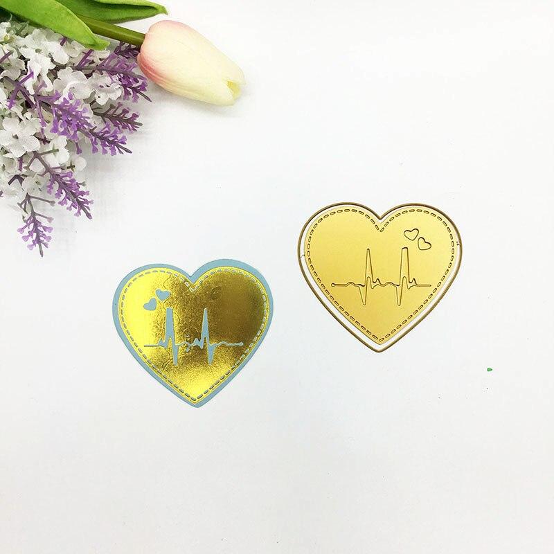 Julyarts Gold Heart ECG Hot Foil Plate Metal Cutting Die For Scrapbooking Stencils Stamping Photo Album Card Die Cut Craft Dies in Cutting Dies from Home Garden