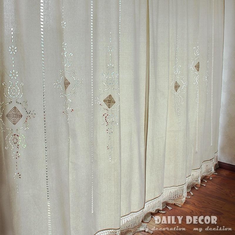 150*255 cm 100% coton lin crochet vintage rideaux Las cortinas Rideau Le tende Der vorhang Gardin Rideau fini