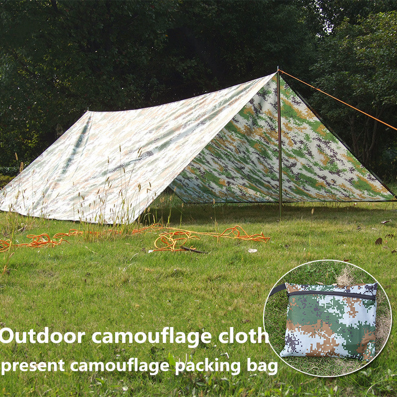 Outdoor camouflage cloth camping tent sun shelter Simple Tent windproof rainproof sunshade canopy waterproof cloth 3*3 m outdoor double layer 10 14 persons camping holiday arbor tent sun canopy canopy tent