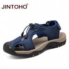 Jintoho verão homens sapatos sandálias de couro dos homens sandálias de moda plana para homens de couro genuíno sandálias de praia sapatos